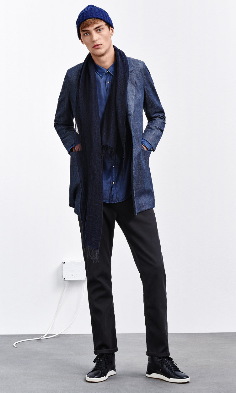Blue jacket, shirt, black trousers, scarf, belt and shoes by BOSS Orange
