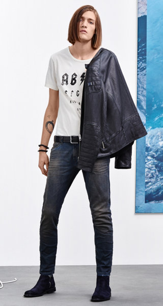 Black leather jacket, white T-shirt, Jeans, belt, shoes and jewelry by BOSS Orange