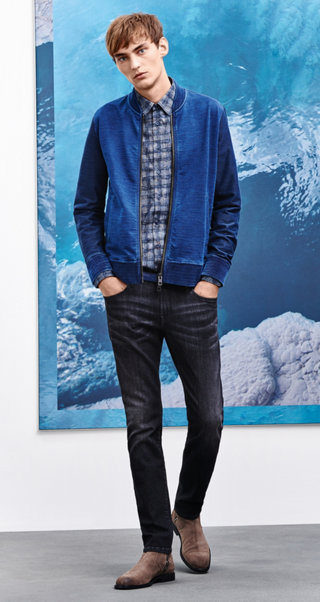 Blue Jersey jacket, shirt, Jeans, belt ans shoes by BOSS Orange