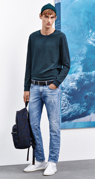 Blue sweatshirt, jeans, belt, backpack and shoes by BOSS Orange