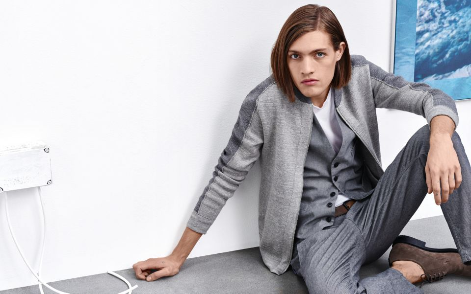 Grey Jacket, waistcoat, trousers, white t-shirt and shoes by BOSS Orange
