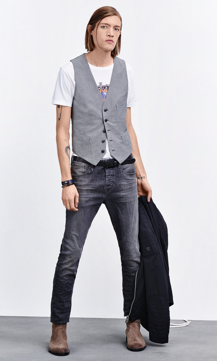 Jacket, waistcoat, t-shirt, jeans, shoes and jewelry by BOSS Orange