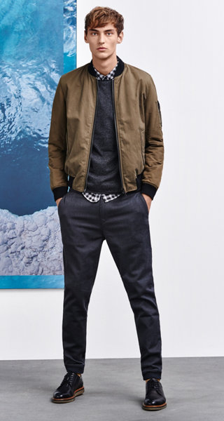 Bomber jacket, pullover, shirt, trousers and shoes by BOSS Orange