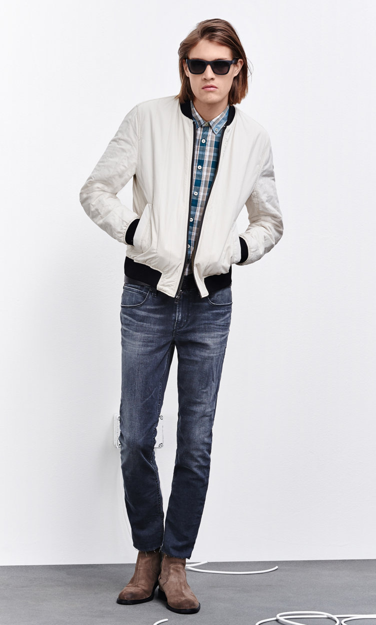 White jacket, patterned shirt, jeans, belt and shoes by BOSS Orange