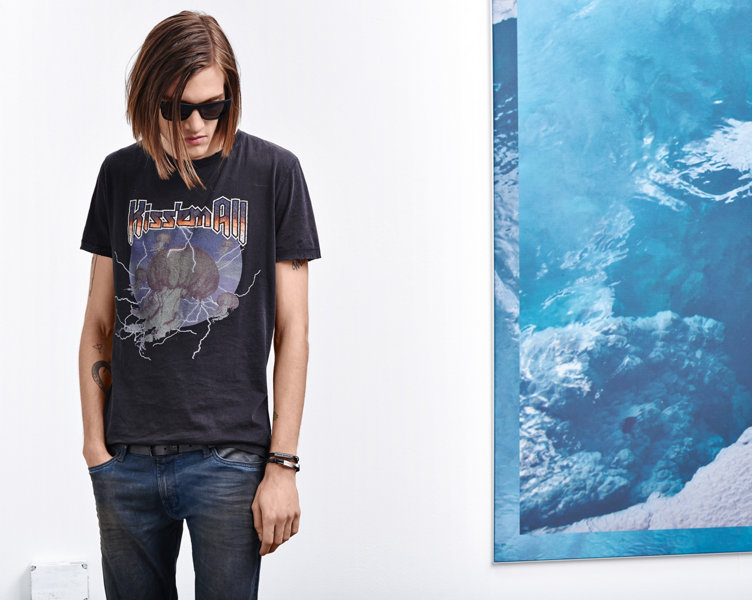 Black T-shirt with print and Jeans by BOSS Orange
