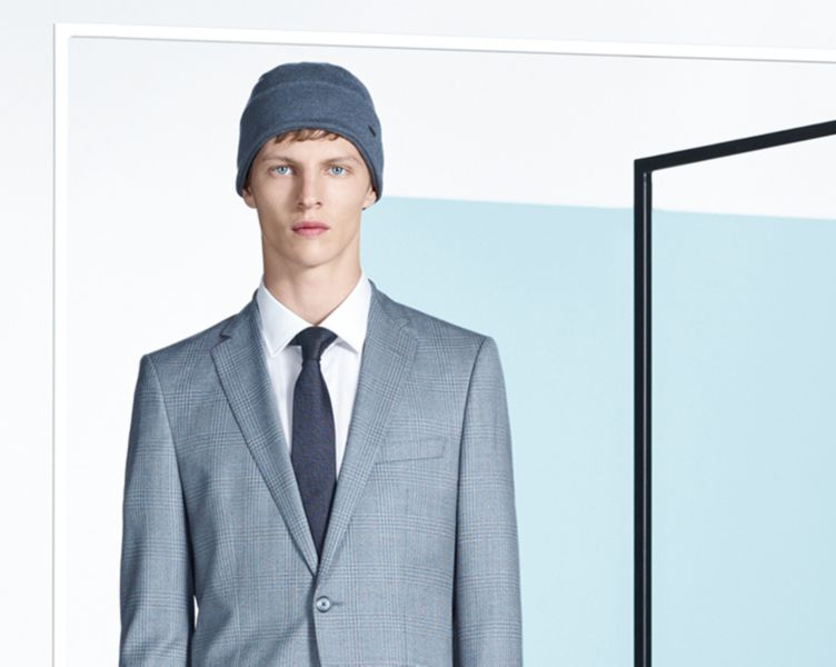 Grey suit, white shirt and grey hat and tie by BOSS