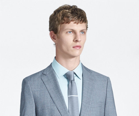 Grey suit, light blue shirt and tie by BOSS