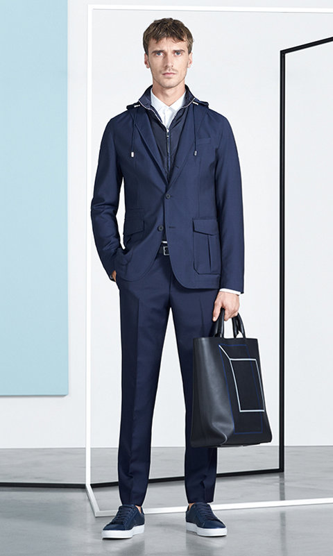 Navy Outerwear, dark blue trousers and shoes by BOSS