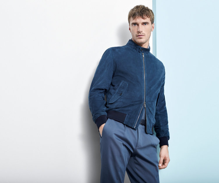 Blue outerwear and trousers by BOSS
