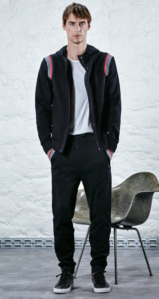 Black sweatshirt jacket, t-shirt, trousers and shoes by HUGO