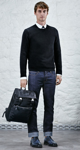 Black pullover, white shirt, jeans, bag and shoes by HUGO
