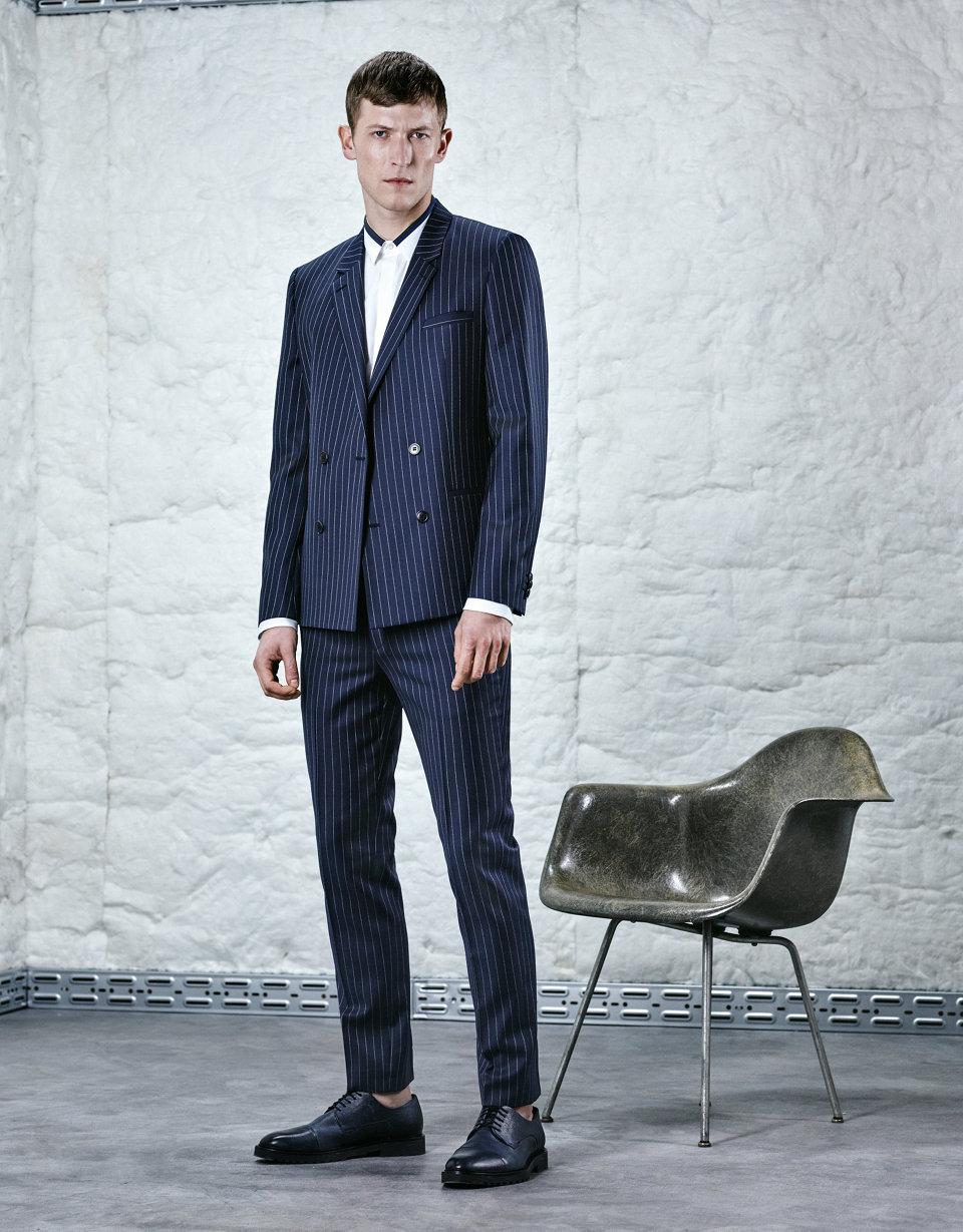 Dark blue pinstripe jacket.