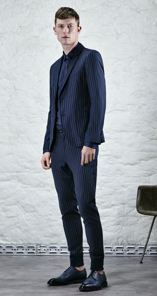 Dark blue jacket, shirt, trousers and shoes by HUGO