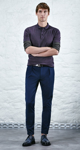 Open green pullover, trousers, belt and shoes by HUGO
