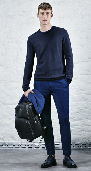 Blue jacket, pullover, shirt, black trousers and shoes by HUGO