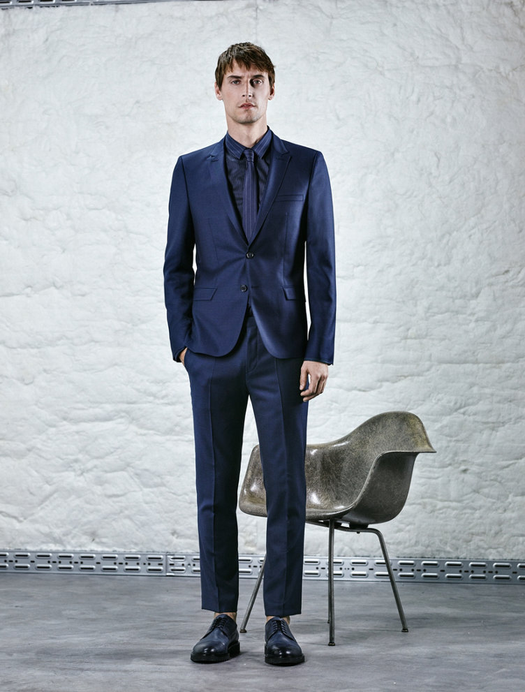 Dark blue Suit, shirt, tie and shoes by HUGO