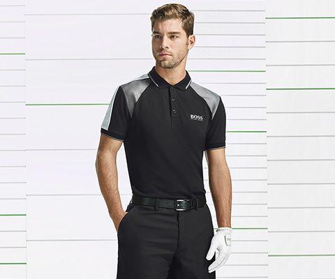 BOSSGreen Premium Golf black T-shirt andshorts