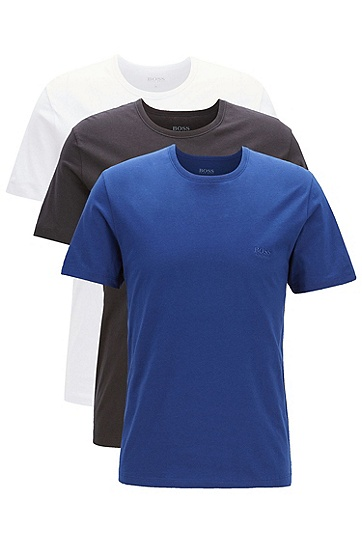 男士三件装圆领棉质短袖T恤,  480_淡蓝色