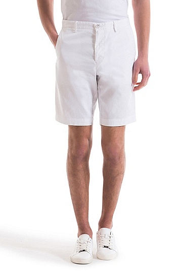 密实弹力华达呢常规版短裤,  100_白色