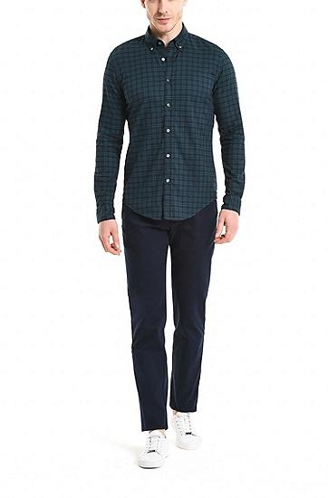 修身版弹力牛津布格纹衬衫,  353_淡绿色