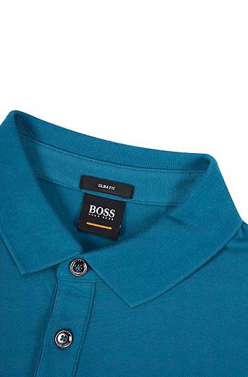 修身版弹力棉凸纹布polo衫,  481_淡蓝色