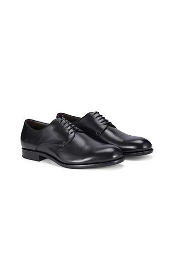 男士商务休闲低帮系带牛皮革皮鞋,  001_黑色