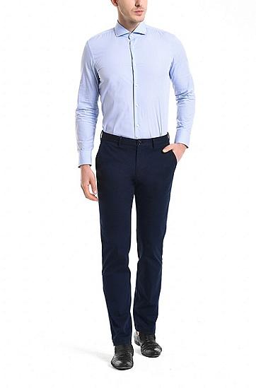 常规版弹力棉斜纹棉布裤,  410_海军蓝色