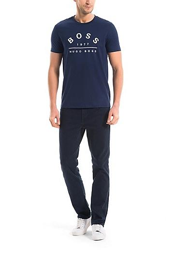 皮马棉常规版logo T 恤,  410_海军蓝色