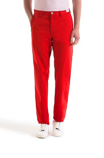 修身版弹力绸缎斜纹棉布裤,  610_中红色