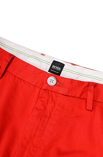 修身版弹力绸斜纹棉布裤,  610_中红色