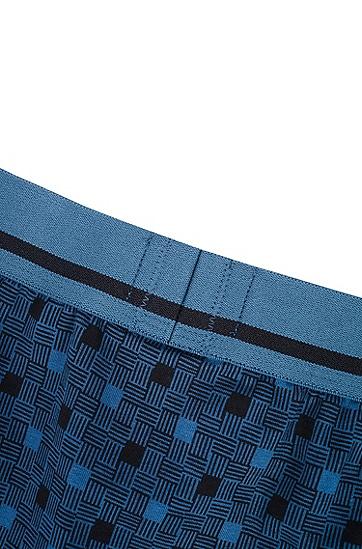 直筒剪裁印花弹力棉平角内裤,  491_淡蓝色