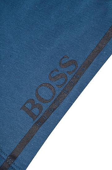 直筒剪裁logo提花平角内裤,  401_暗蓝色