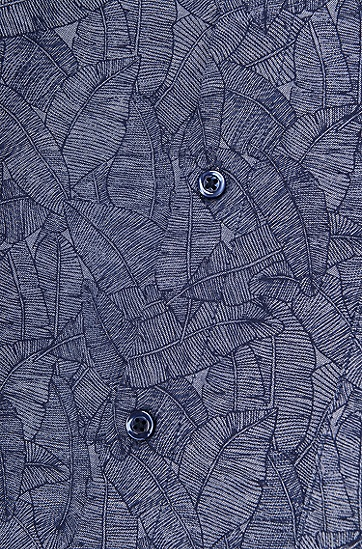 修身版香蕉叶印花棉钱布雷布衬衫,  404_暗蓝色