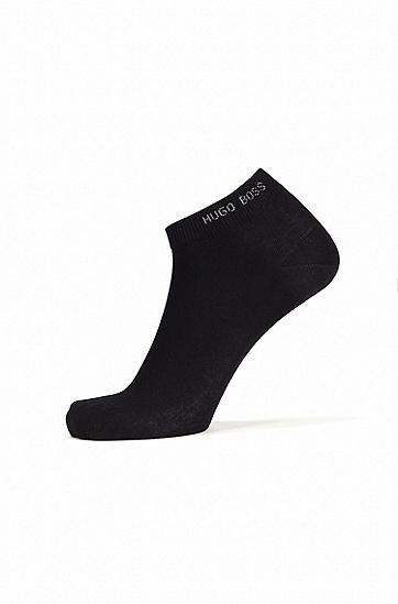 双副棉质混纺及踝短袜,  001_黑色