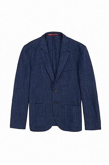 修身版羊毛混纺席纹呢轻薄运动夹克衫,  461_淡蓝色