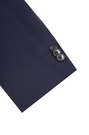 修身羊毛西装外套,  401_暗蓝色