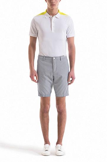 修身版结构化弹力棉短裤,  410_海军蓝色