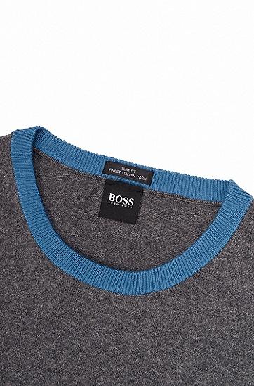 埃及棉色块拼接长袖毛衣,  072_淡灰色