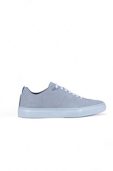 网球鞋风格牛巴革低帮运动鞋,  458_浅蓝色