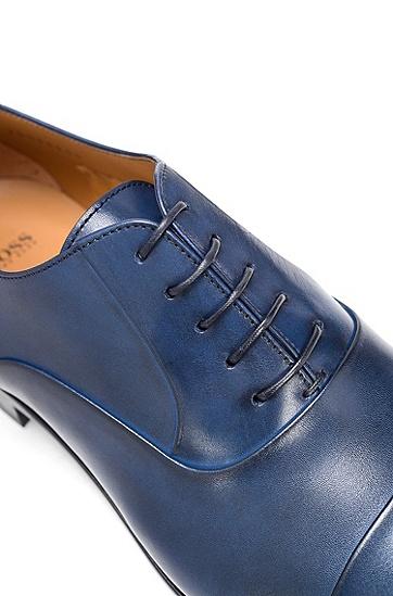 男士纯色商务休闲系带皮鞋,  401_暗蓝色