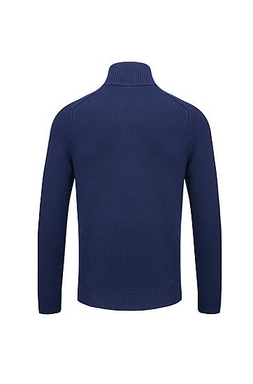 双向拉链羔羊毛立领毛衣,  480_淡蓝色