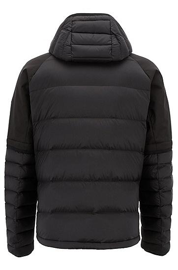 男士简约运动拼接羽绒外套,  001_黑色