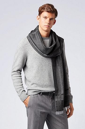 饰以应季格纹提花的流苏下摆羊绒围巾,  001_黑色