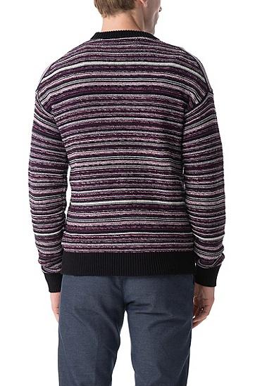 男士舒适休闲条纹针织衫,  001_黑色