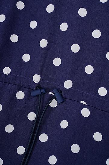 女士舒适休闲桑蚕丝波点连衣裙,  408_暗蓝色