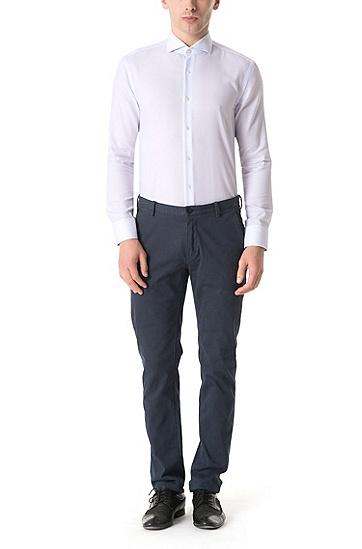 男士商务休闲修身版棉质长袖衬衫,  450_浅蓝色