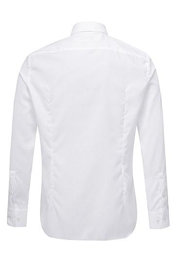 男士商务休闲修身版棉质长袖衬衫,  100_白色