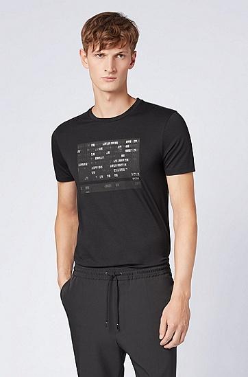 饰有照片印花的修身版皮马棉T恤,  001_黑色