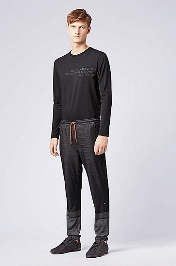 男士运动休闲常规版长袖T恤,  001_黑色