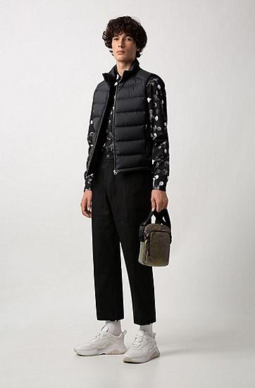 男士修身版棉质长袖衬衫,  001_黑色
